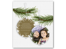 Holly & Berry Border Photo Ornament Holiday Card